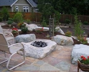 Hardscape design with firepit and patio