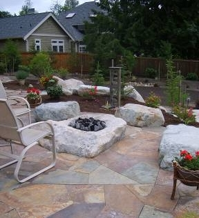 Rock Fire Pit installed by Environmental Construction Inc. in Kirkland WA