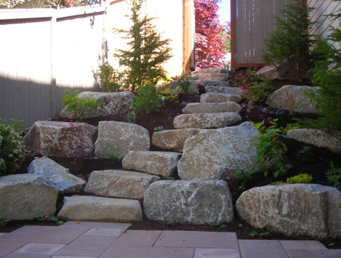 Stone steps installed by Environmental Construction Inc. in Kirkland WA