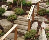 Wood landscaping steps by Environmental Construction